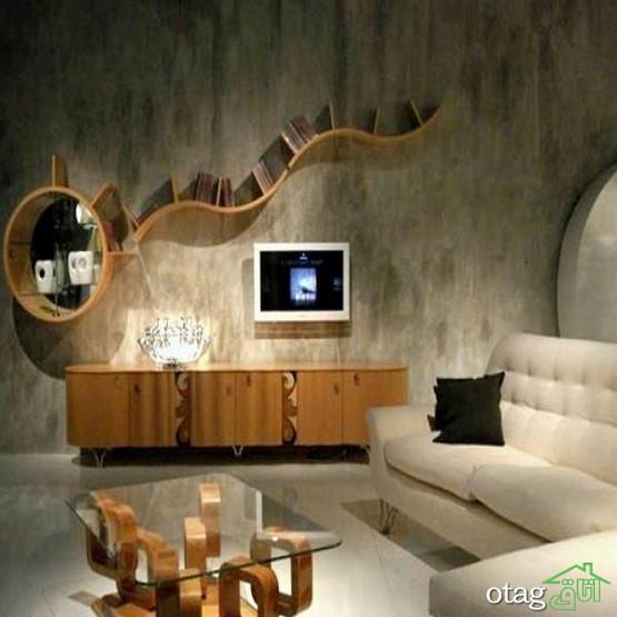 39 مدل عکس میز و شلف دیواری تلویزیون با چوب و ام دی اف [سال 1400]